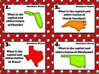 Geography Task Cards: Capitals, Abbreviations, and Name That State Bundle