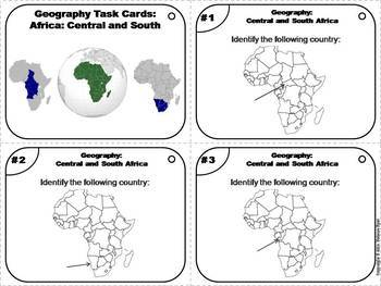 Geography Task Cards: Central and South Africa Task Cards (Map Skills Unit)