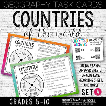 Geography Task Cards Countries of the World