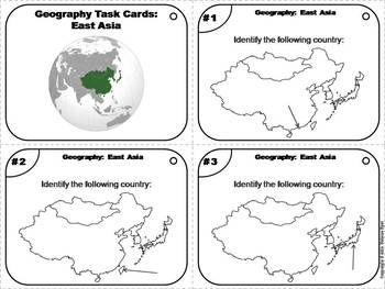 Geography Task Cards: East Asia Task Cards (Map Skills Unit)