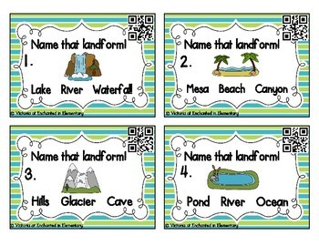 Geography Task Cards: Landforms Set