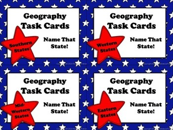 Geography Task Cards: Name That State!