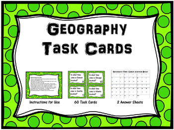 Geography Task Cards--Set of 60
