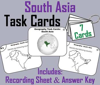 Geography Task Cards: South Asia Task Cards (Map Skills Unit)