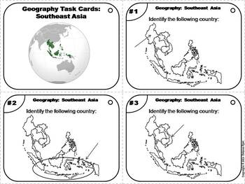 Geography Task Cards: Southeast Asia Task Cards (Map Skills Unit)