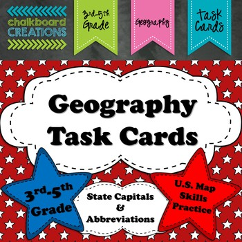 Geography Task Cards: State Capitals and Abbreviations
