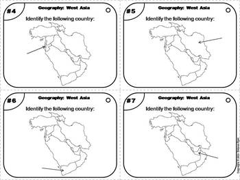 World Geography Task Cards: West Asia Task Cards (Map Skills Unit)