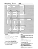 Geography Terms Crossword Puzzle