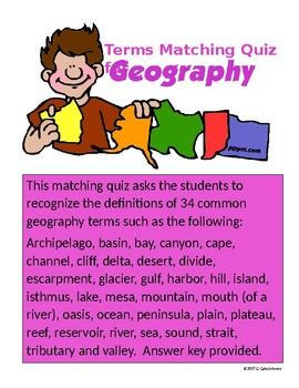 Geography Terms Matching for Grades 6-9