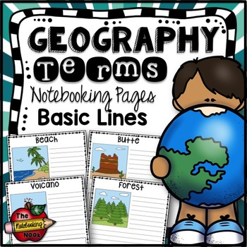 Geography Terms Writing Pages - Basic Lines