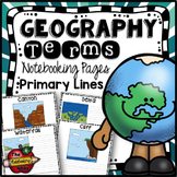 Geography Terms Writing Pages - Primary Lines