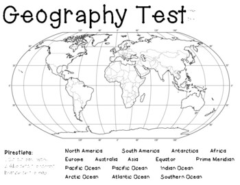 FREEBIE!!! Geography Assessment