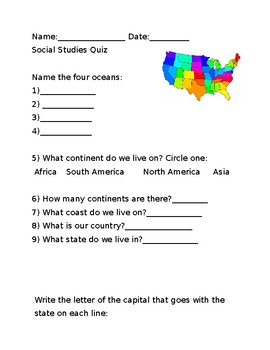 Geography Test States and Capitals