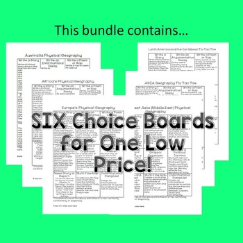 Geography Tic Tac Toe Choice Board BUNDLE