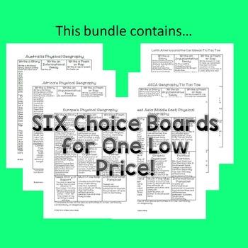 Geography Tic Tac Toe Choice Board BUNDLE