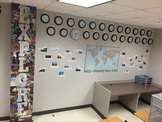 Geography Time Zone Clock Wall Feature