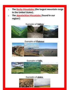 Geography: Regions (5 regions) & Landforms  BUNDLE 4th SS