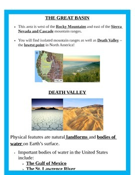 Geography: Regions (5 regions) & Landforms  BUNDLE 4th SS