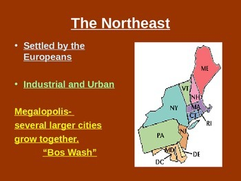 Geography - USA regions/Canada basics powerpoint
