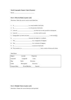 Geography Unit 1 Quiz: Map Skills
