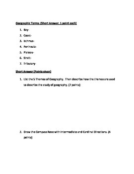 Geography Unit - Final Exam