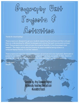 Geography Unit Projects and Station Activity