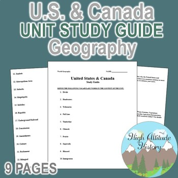 United States & Canada Culture Region Unit Study Guide (Geography)