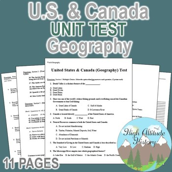 United States & Canada Culture Region Unit Test / Exam / Assessment (Geography)