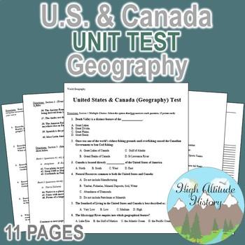 United States & Canada Culture Region Unit Test / Exam / A