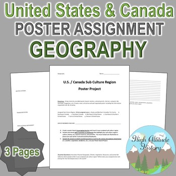 Geography: United States & Canada Tourism Culture Region Poster Group Work