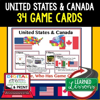 Geography United States and Canada Game Cards