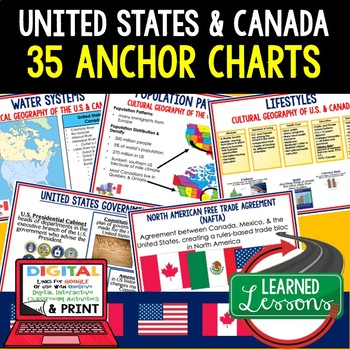 Geography United States and Canada Anchor Charts #easterbunny