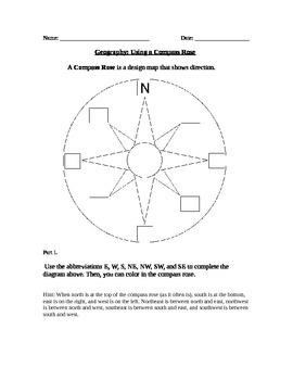 Compass Rose Worksheet Teaching Resources Teachers Pay Teachers Lines Of Latitude Worksheet Geography Using A Compass Rose