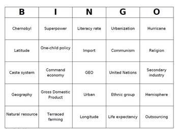 Geography Vocabulary Bingo Game