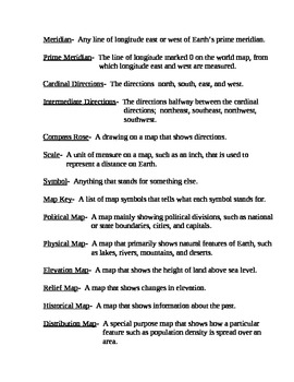 Geography Vocabulary:  Glossary of Terms