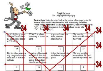 Geography Vocabulary Magic Squares - 16 Vocabulary Terms
