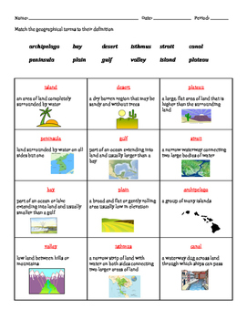 Matching Geographic Features (Vocabulary)
