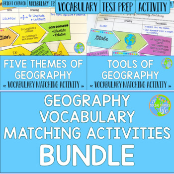 Geography Vocabulary Matching Activities BUNDLE