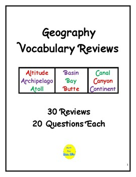 Geography Vocabulary Reviews
