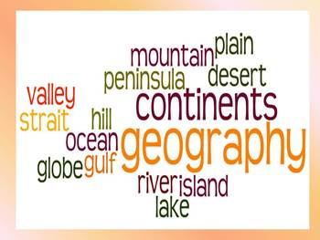 Geography Vocabulary Study Guide and Quiz- Third Grade