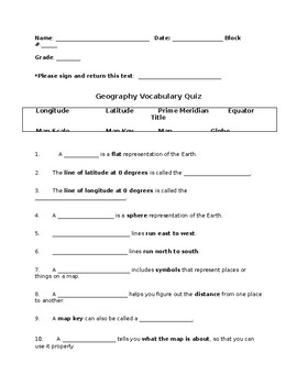 Geography Vocabulary Study Guide with Test