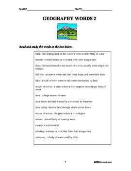 Geography Vocabulary Unit 13 pages