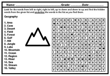 Geography Vocabulary, Word Search Worksheet, Elementary Sub Plan