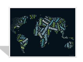 Geography Vocabulary image for Classroom Decoration Poster or Sign