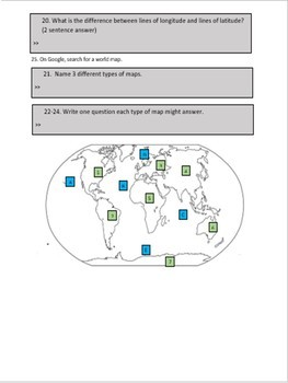 Geography WebQuest- Continents, Oceans, terms, and Map Skills