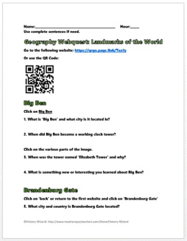 Geography Webquest: Landmarks of the World