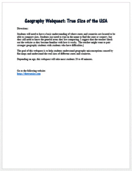 Geography Webquest: True Size of the USA