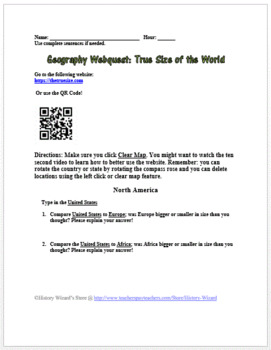 Geography Webquest True Size of the World
