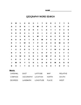 Geography Word Search- 15 Words