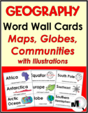 Geography Social Studies Word Wall Cards (Maps, Globes, and Communities)